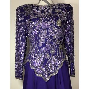 Vintage silk purple and gold sequin beaded dress